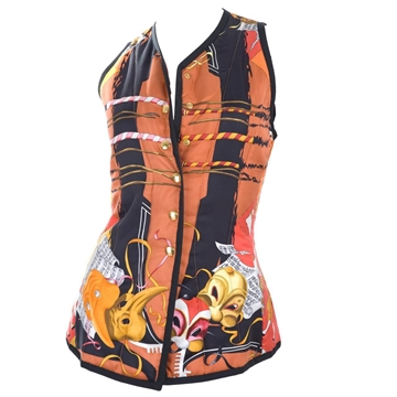 Hermes 1990s 'Le Carnaval De Venice' Print silk orange and black vintage quilted vest