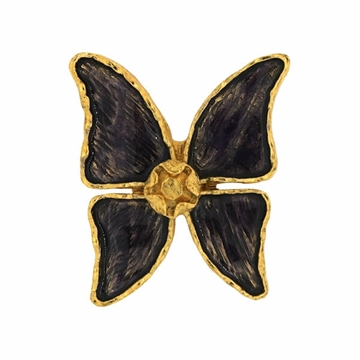 Yves Saint Laurent 1980s Enamel & Gold Tone Vintage Butterfly Brooch