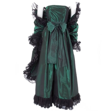 Yves Saint Laurent Green Silk Taffeta vintage dress and Stole