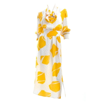 Ted Lapidus 1970s Silk white & yellow pattern vintage Dress