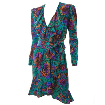 Yves Saint Laurent Rive Gauche Jacquard Silk Multicoloured Vintage Wrap Dress