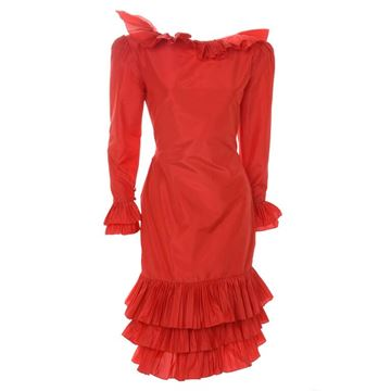 Bill Blass 1980s Couture Silk Taffeta ruffle trim red vintage Dress