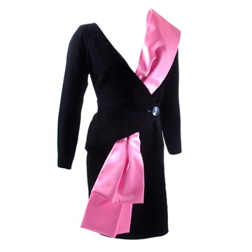 Yves Saint Laurent 1990s Velvet & Satin Iconic pink vintage Dress