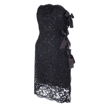 Yves Saint Laurent 1987 Strapless lace black vintage Cocktail Dress