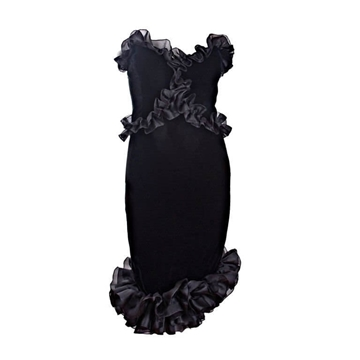 Yves Saint Laurent 1987 Strapless Velvet Black Vintage Cocktail Dress
