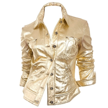 Moschino Jeans 1980s Gold Leather vintage Jacket