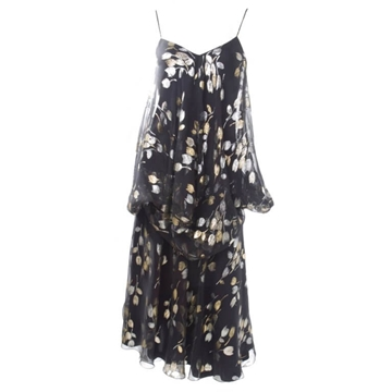 Stravropoulos Silk Chiffon leaf print silver & gold vintage Cocktail Dress