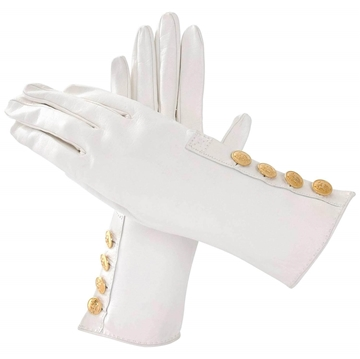 Hermes gold button white Leather vintage Gloves
