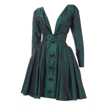 Yves Saint Laurent 1991 Taffeta button detail green vintage mini Dress