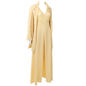 Chloe 1990s Pale Yellow Vintage lace bodice Jumpsuit and Jacket