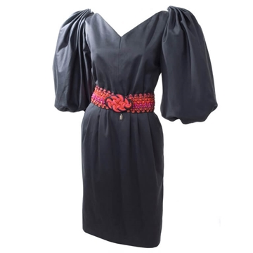 Yves Saint Laurent 1980s Cotton Sateen black vintage Dress
