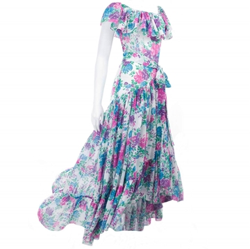 Yves Saint Laurent 1970s floral Boho blue & pink vintage Dress