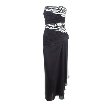 Scherrer Boutique 1980s Silk black & white vintage Cocktail Dress