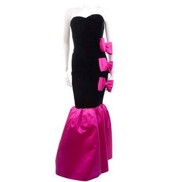 Givenchy 1980s Nouvelle Boutiquebow detail pink & black vintage dress