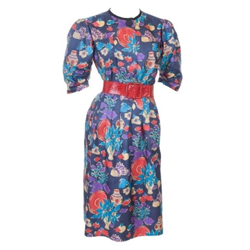 Yves Saint Laurent 1980s floral blue belted vintage top & skirt set