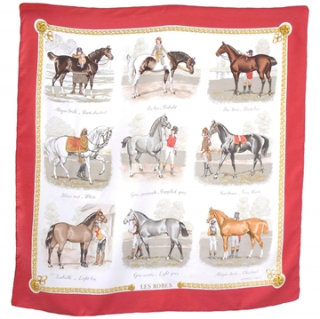 Hermes Horse Print Les Robes by Ledoux silk red vintage scarf