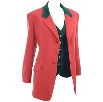 Hermès 1980s Riding Style Red & Green vintage jacket