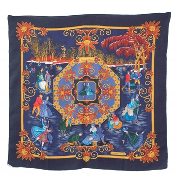Hermes 1990s Joies D'Hiver Cashmere Silk Navy Border vintage scarf