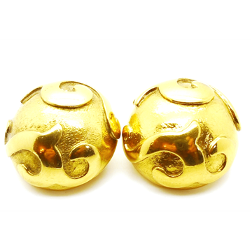 Picture of Yves Saint Laurent 1980s Haute Couture domed gold tone Vintage Earrings