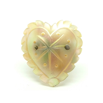 ANTIQUE VICTORIAN MOTHER OF PEARL HEART GOLD BROOCH