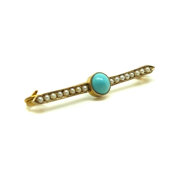 ANTIQUE VICTORIAN TURQUOISE & SEED PEARL GOLD BROOCH