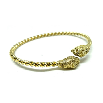 VINTAGE 1920s ART DECO EGYPTIAN REVIVAL LION HEAD gold tone BANGLE BRACELET