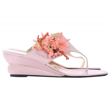 ALBANESE Coral Branch Clusters pink vintage sandals