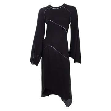 Ossie Clark 1971 hemstitch Black vintage Dress