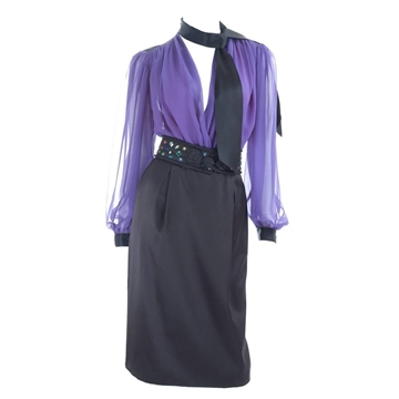 Yves Saint Laurent Rive Gauche 1980s Silk and Chiffon Black and Purple Vintage Blouse and Skirt Ensemble