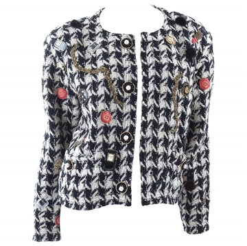 Chanel 1980s Jewel Applique monochrome vintage jacket