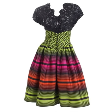 Ted Lapidus Couture lace striped multicolour vintage Cocktail Dress