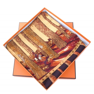 Hermes Ombres Et Lumieres Cashmere Silk brown vintage scarf