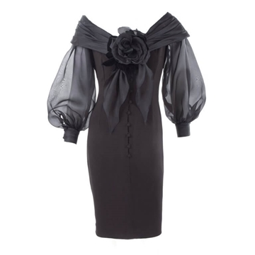 Scherrer Boutique 1990s Off Shoulder rose detail black vintage Cocktail Dress