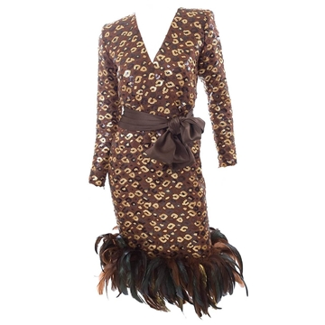 Givenchy 1980s Leopard Pattern Sequin & Feather brown vintage dress
