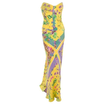 Versace 2004 Silk Satin yellow printed vintage dress