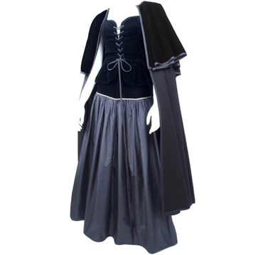 Yves Saint Laurent 1980s Taffeta and Velvet Black Vintage Skirt, Bustier and Cape Ensemble