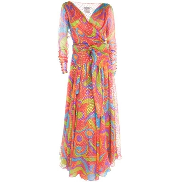 Yves Saint Laurent 1980s Silk Chiffon Lame Dot Multicolour Print Vintage Maxi Dress
