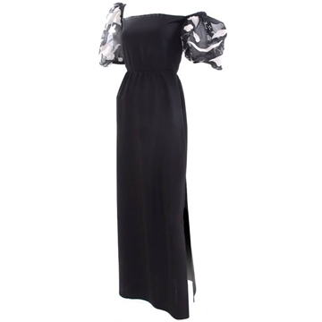 Scherrer Boutique 1980s organza Applique black vintage dress