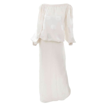 James Galanos 1980s Silk ivory vintage ensemble