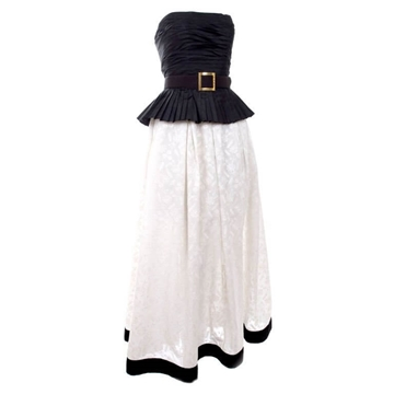 Chanel Boutique 1986 Silk black & White vintage dress