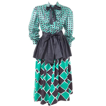 Yves Saint Laurent 1970s Harlequin 2 Piece green vintage Dress