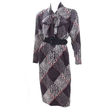 Givenchy Haute Couture Jacquard Silk monochrome vintage Dress