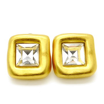 Givenchy gold & Crystal Square Stud vintage Earrings