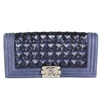 """Chanel Blue Suede and Sequinned """"Boy"""""""" Vintage Clutch Bag"""