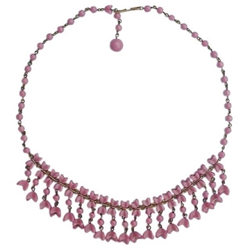 Vintage 1950s Glass Flower Drop pink Necklace