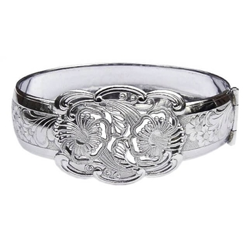 Vintage 1930s Floral Filigree Silver Tone Bangle