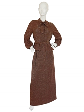 PIERRE BALMAIN 1960s 3 piece brown vintage Skirt Suit