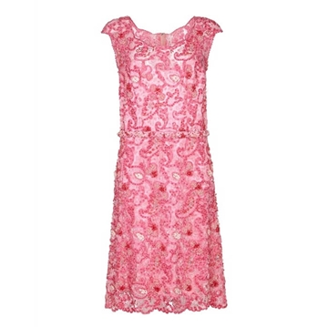 Norman Hartnell for Barbara Cartland 1960s Beaded pink vintage Dress