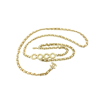 Chanel 2001 Faux Pearl Coco Gold Tone Woven Chain vintage Belt / Necklace