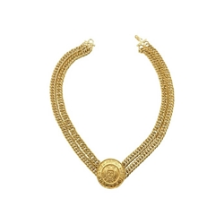 Chanel 1990s Rue Cambon Medallion gold tone vintage Necklace